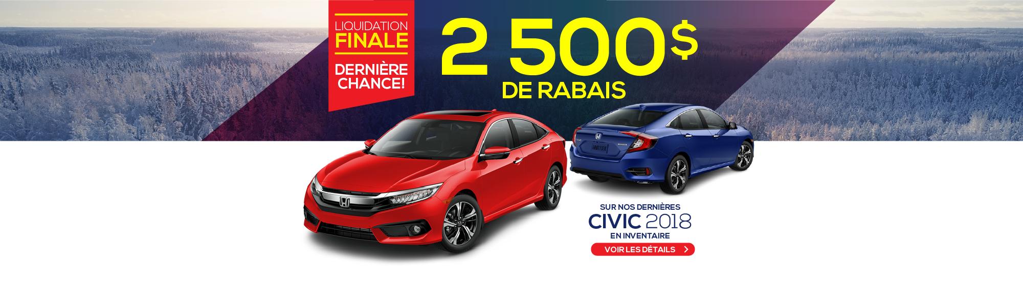 2500$ DE RABAIS - CIVIC 2018