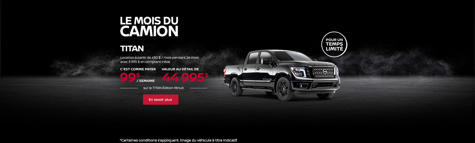 Obtenez le Nissan Titan 2018 dès aujourd'hui! (Copie) (Copie) (Copie)