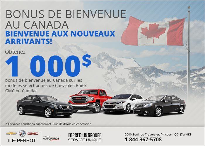 Chevrolet Ile Perrot >> Rabais de bienvenue au Canada   Chevrolet Buick GMC de l ...