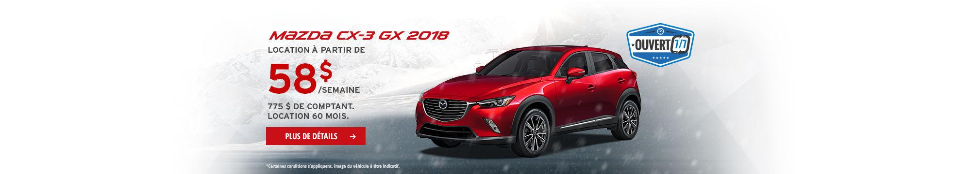 Roulez en Mazda CX3 2018