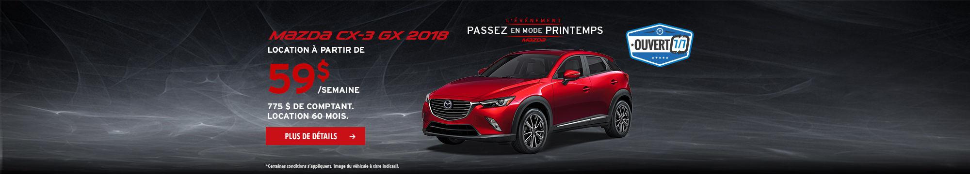 Roulez en Mazda CX-3 2018