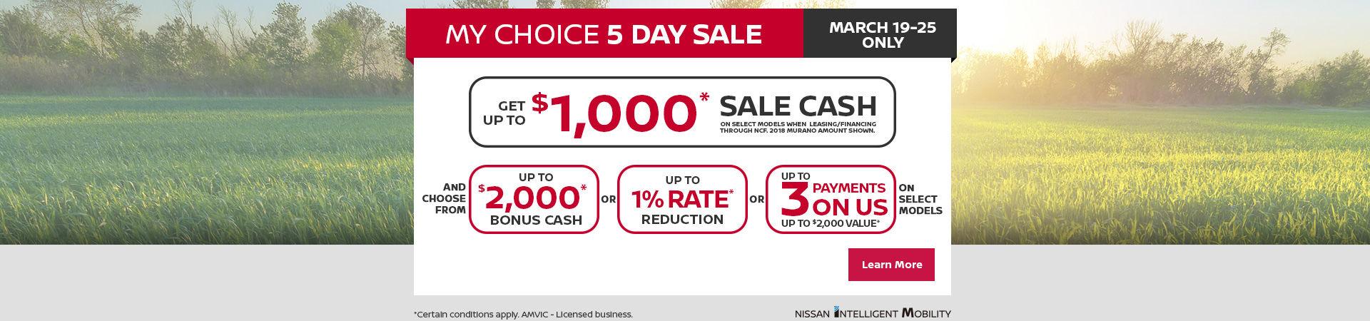 My Choice 5 day sale