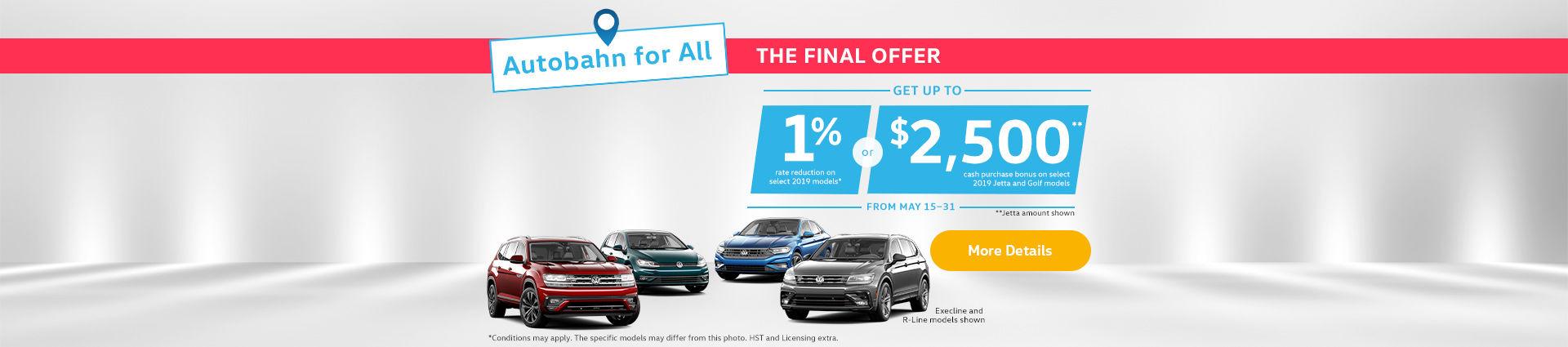 Volkswagen Autobahn Sales Event short sale