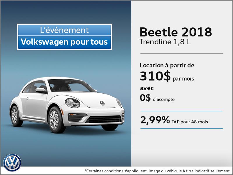 Obtenez la Beetle 2018 dès aujourd'hui