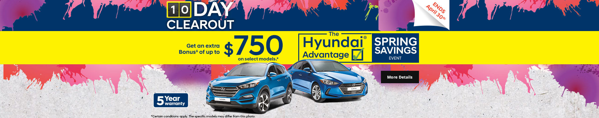 Hyundai's 10 Day Clearout sale Header