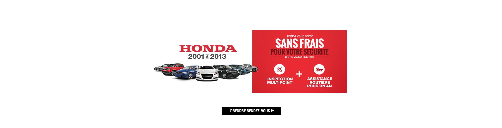 Main header Honda Inspection multipoint et assistance routière 1 an gratuite 2018