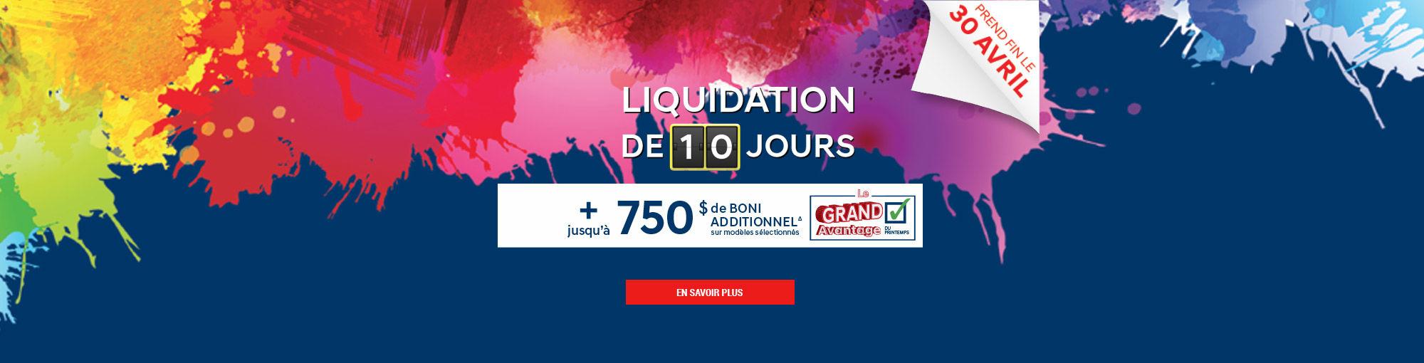 Liquidation 10 jours Printemps 2018 Main Header Avril 2018