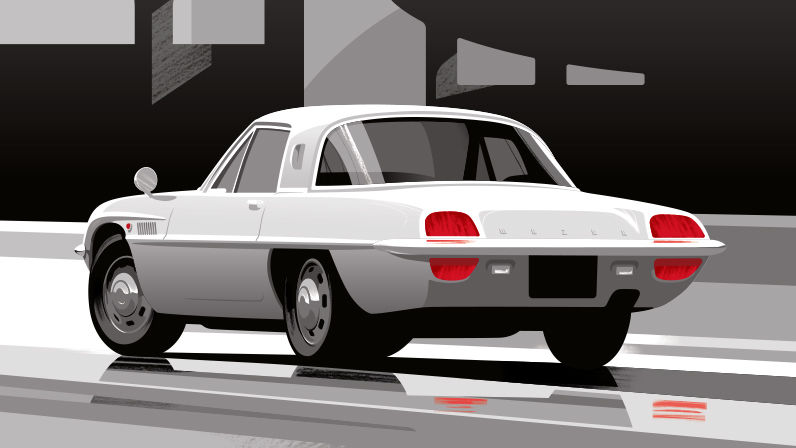 Illustration Guy Allen - Mazda grise