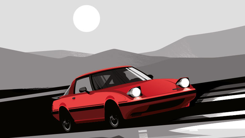 Illustration Guy Allen - Mazda rouge