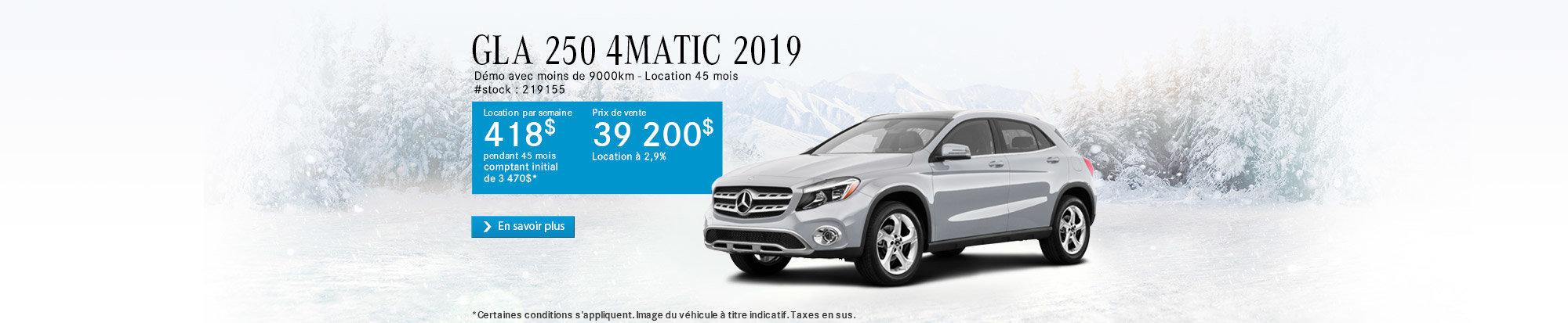 Solde de démos - GLA 250 4MATIC 2019 - header