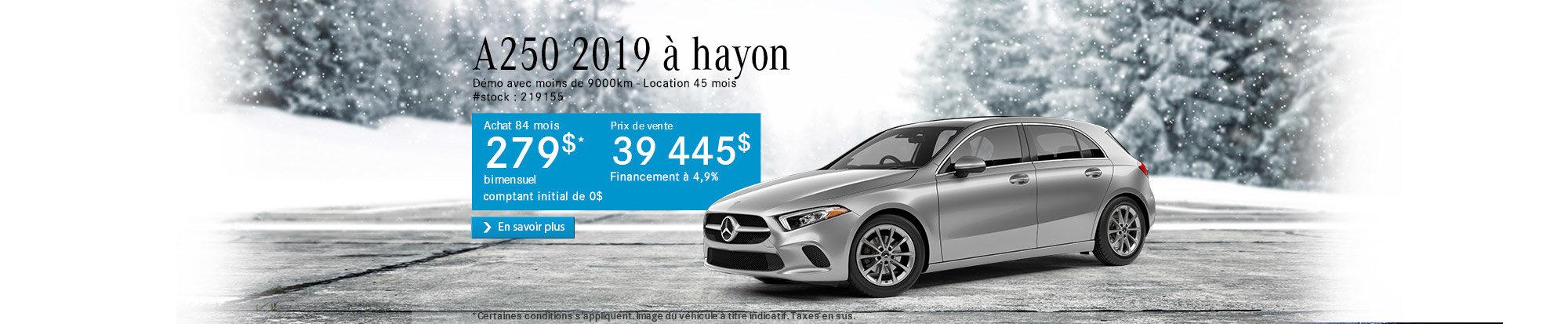 A250 à hayon 2019 - header