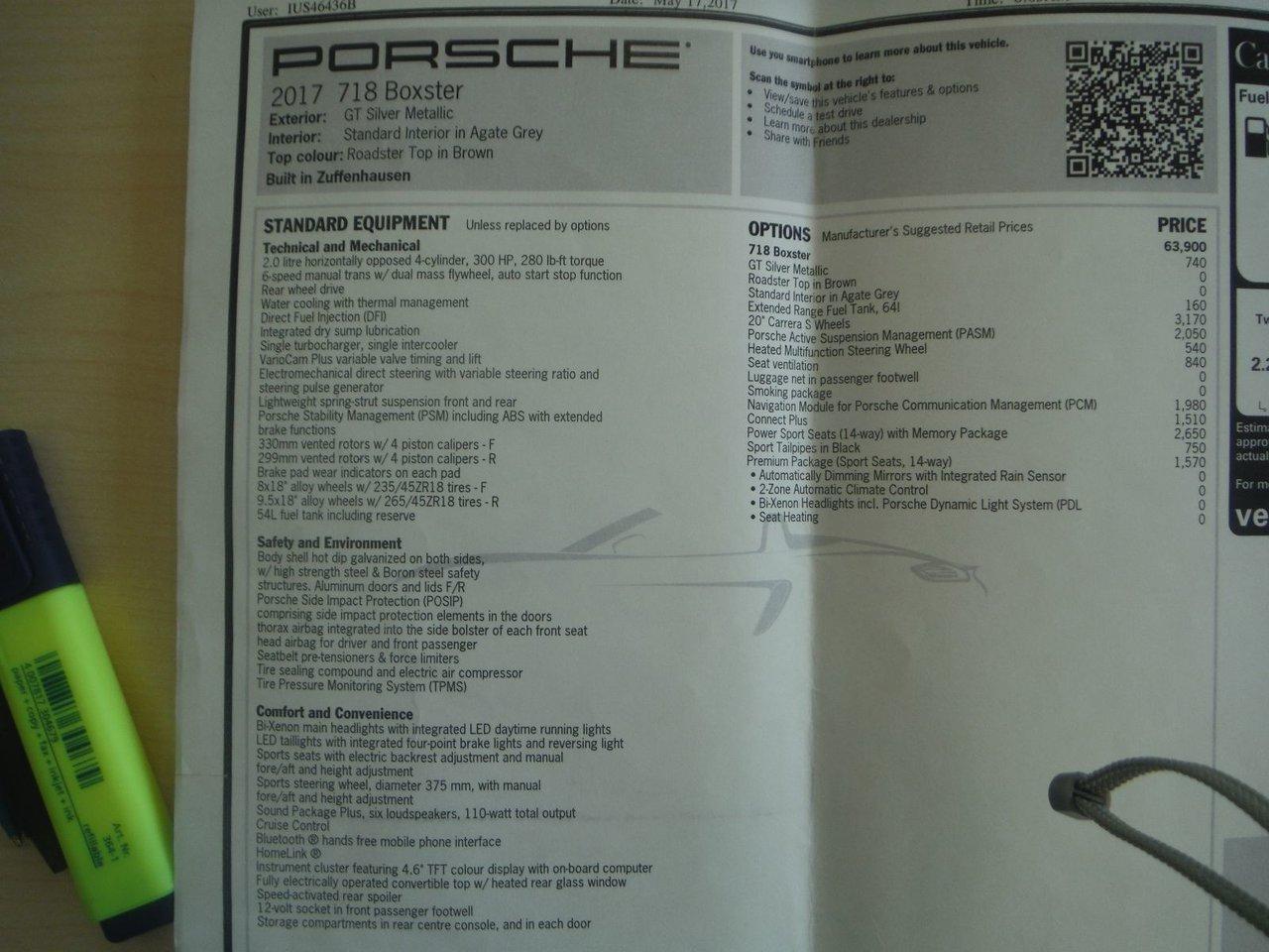 2017 Porsche Boxster BOXSTER 718 CONVERTIBLE