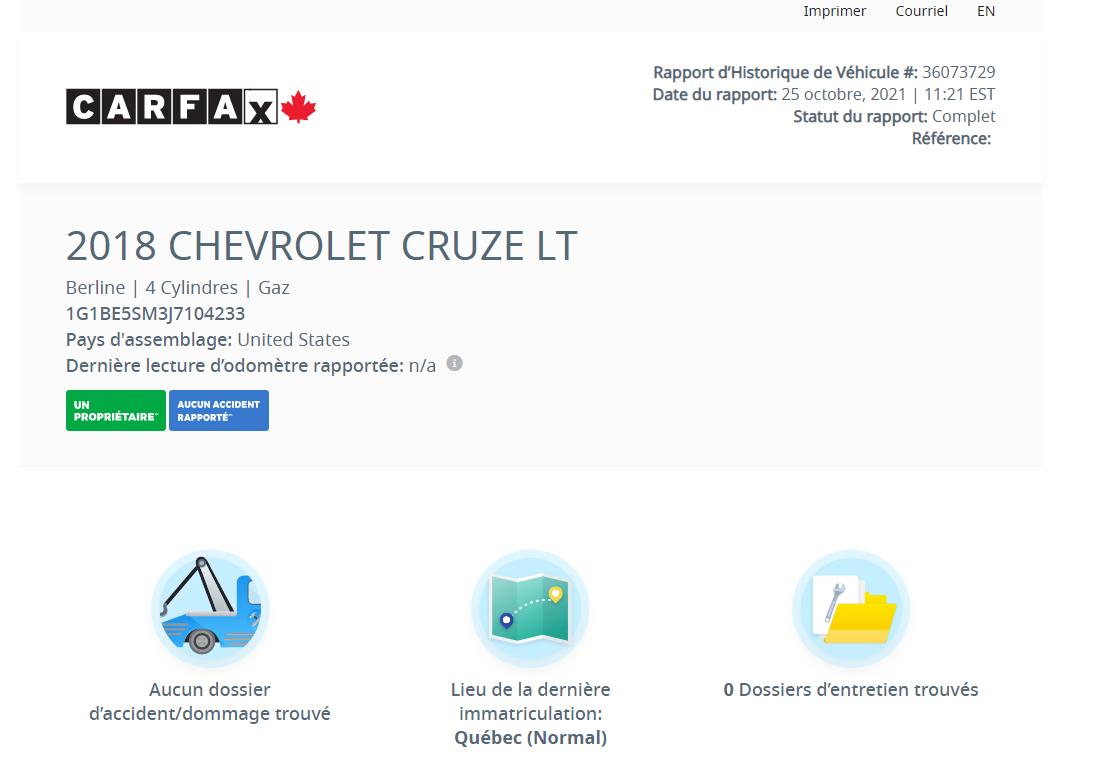 Chevrolet Cruze 2018 LT Turbo