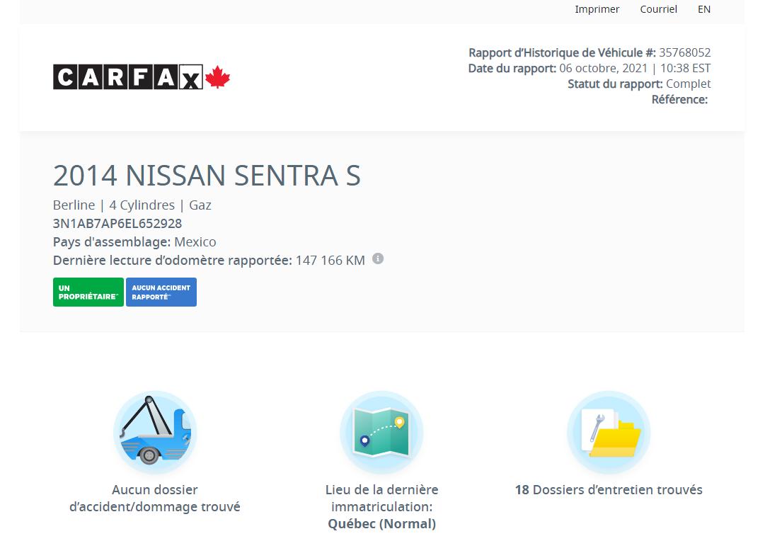 Nissan Sentra 2014 SV / A/C + AUTO + BAS PRIX!