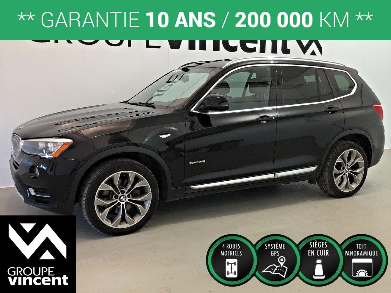 2016 BMW  X3 XDRIVE 2.8i AWD GPS TOIT ** GARANTIE 10 ANS *