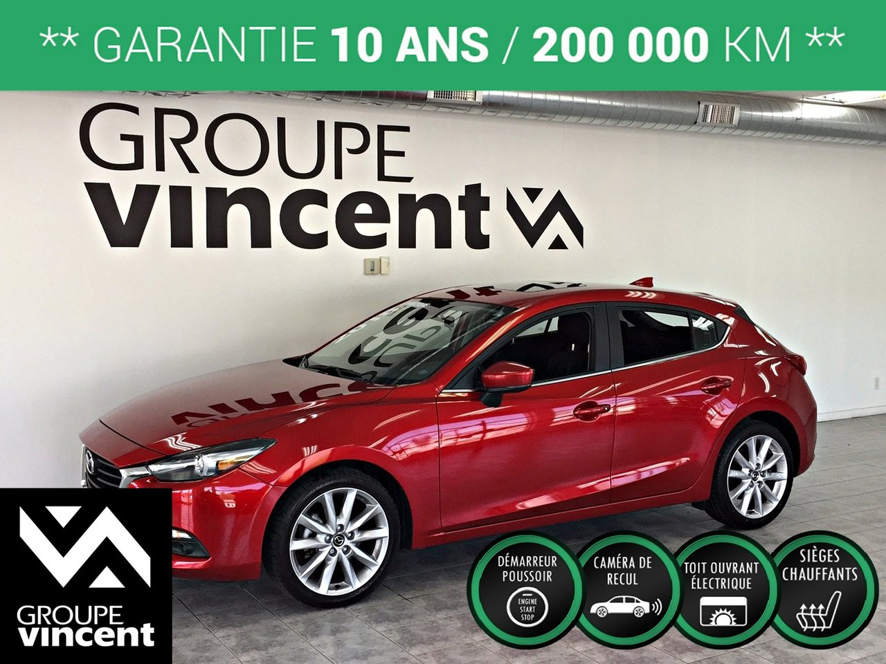 2018 Mazda  Mazda3 SPORT GT GPS TOIT OUVRANT ** GARANTIE 10 ANS