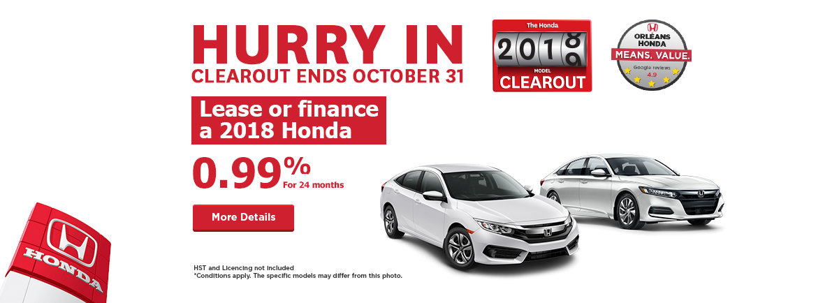 The Honda 2018 model Clearout !