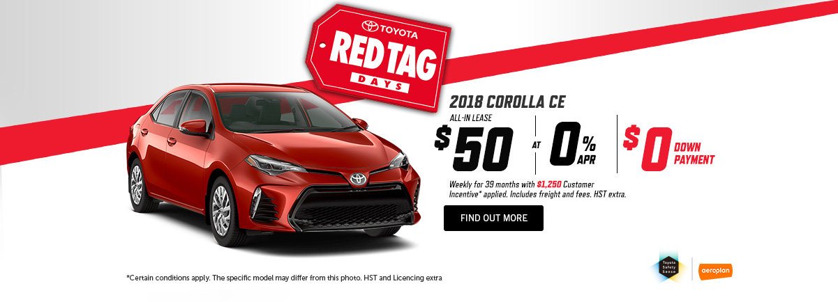 TOYOTA'S RED TAG DAYS Corolla - May -
