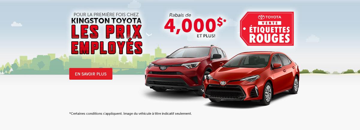 Kingston Toyota Les prix employés