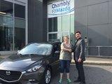 Félicitations Mme Julie Drouin pour votre nouvelle Mazda 3SE 2017 , Chambly Mazda