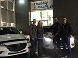 Félicitations à M. et Mme Lauzon pour l'acquisition de votre nouvelle Mazda 3, Chambly Mazda