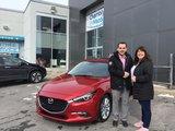 Félicitations à Mme Bolduc pour l'achat de son Mazda 3 2018, Chambly Mazda