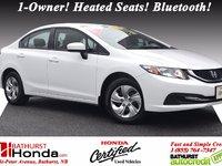 Honda Civic Sedan LX 2014 Certifié Honda! 1-Proprio! Sièges chauffants! Bluetooth!