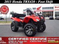 2013 Honda TRX420  Foot Shift! Power Steering! Metal Skid Plates! Windshield!