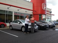 Great experience when purchasing my new Honda Civic! Nicole Doiron-Bertin