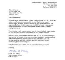 On behalf of the Bathurst Service Canada Centre for Youth (SCCY),
