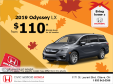 Lease the 2019 Honda Odyssey!