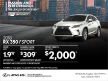 Get the 2018 Lexus RX 350 today!