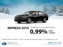 Obtenez la Subaru Impreza 4 portes 2019 dès aujourd'hui!