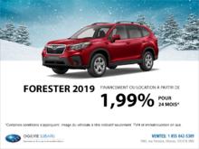 Obtenez le Subaru Forester 2019 dès aujourd'hui!