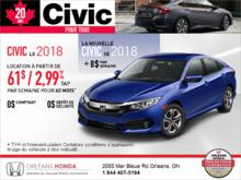 Louez la Honda Civic Berline 2018!