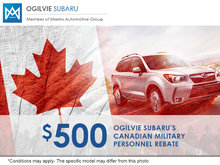 Ogilvie Subaru's Canadian Military Personnel Rebate Program