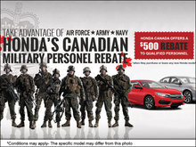 Take advantage of HONDA'S CANADIAN MILITARY PERSONNEL REBATE