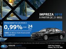 Obtenez la Subaru Impreza 2018
