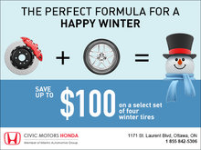 Save up to $100 on Winter Tires