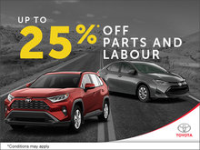 Up to 25% off Parts and Labour