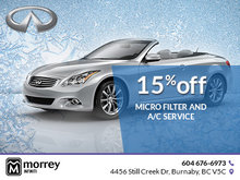 15% off micro filter and A/C service.