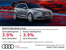 Drive the 2018 Audi A3 Sportback e-tron today!