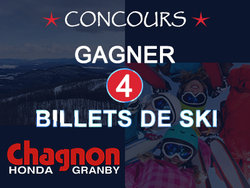 Concours Gagner 4 billets de Ski Bromont