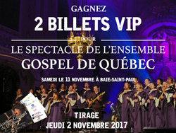 Gagnez 2 billets pour l'Ensemble Gospel de Québec