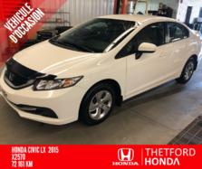 Honda Civic Sedan LX  + AILERON GARANTIE PROLONGÉE COMPLÈTE !  2015