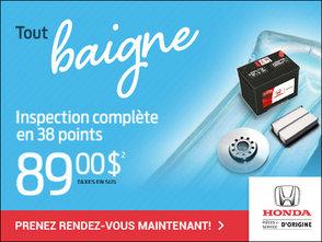 TOUT BAIGNE AVEC L'INSPECTION COMPLÈTE EN 38 POINTS! chez Avantage Honda à Shawinigan