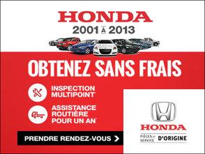 GRATUIT: Inspection multipoint + 1 an d'assistance routière chez Avantage Honda à Shawinigan