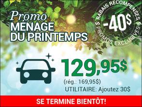 40$ DE RABAIS sur lavage complet avec shampoing tapis chez Hyundai Trois-Rivières à Trois-Rivières