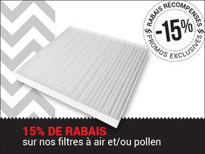 -15% sur le remplacement des filtres à air et/ou à pollen chez Avantage Honda à Shawinigan