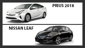 Toyota Prius 2018 versus Nissan Leaf